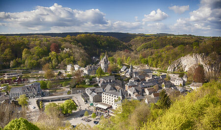 panorama of town Durbuy in Belgian Ardennes Standard-Bild