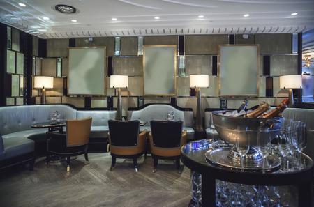 interior of wine bar in retro restaurant
