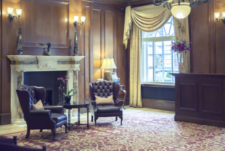 lobby room in classic hotel  photo