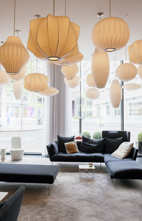 decorative lamps in modern hotel  Standard-Bild