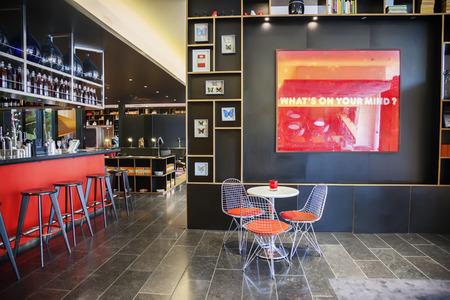 interior of stylish empty restaurant and hotel