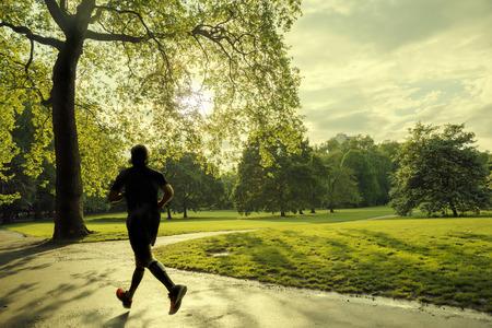 freedom park: evening runner in London green Park
