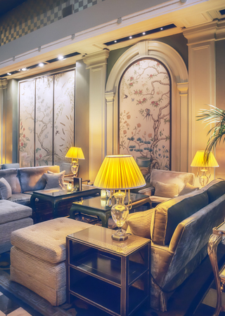 interior of lobby room in classic hotel