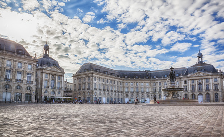 bordeaux: Town square in Bordeaux city - Place de la Bourse  Editorial