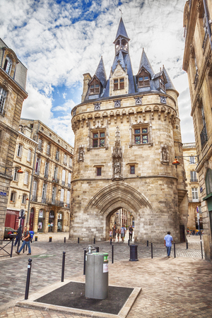 old town square: Porte Cailhau in old part of Bordeaux