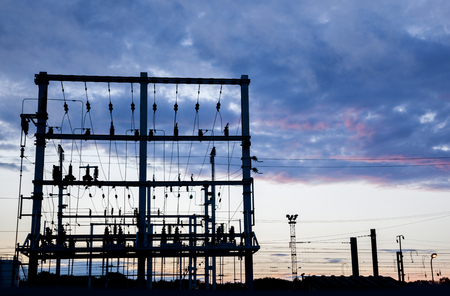 electric station: evening silhouette of electric station Stock Photo
