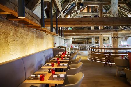 designed restaurant in antique old building Archivio Fotografico
