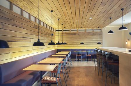 restaurant interior: modern restaurant designed in wooden texture