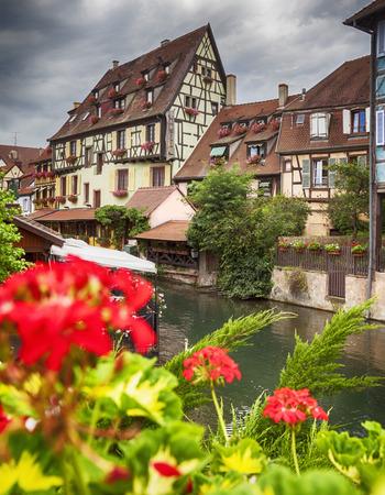 the little venice: canal in Colmar in Petit Venice , Strasbourg region, France Stock Photo
