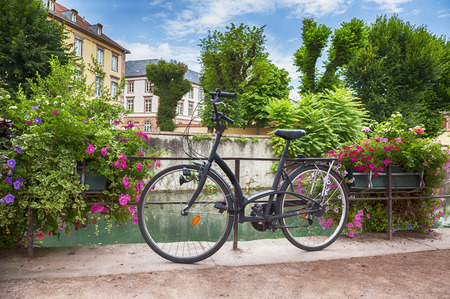 colmar: summer background of france bike and flowers