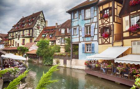 haut: town canal in Colmar in Petit Venice , Strasbourg region, France, august 2014