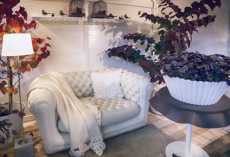 romantic room: detail of garden house or home veranda Stock Photo