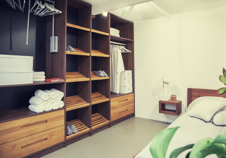 dress closet in interior of  bed room photo