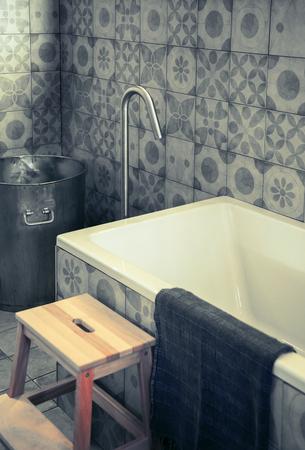 comtemporary: detail of stylish comtemporary bath room Stock Photo