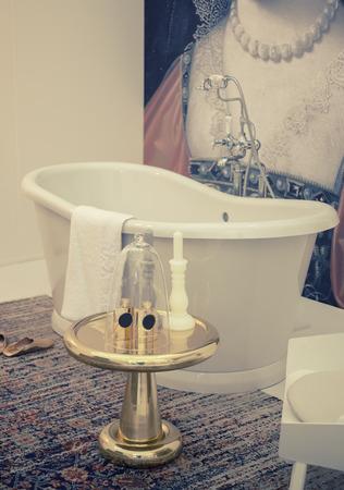 classic bathroom in stylish interior photo