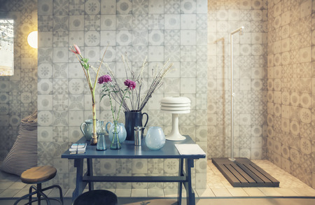 interior of designed bath room photo