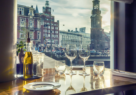 view at evening Amsterdam from luxury restaurant