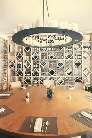 brasserie: empty restaurant with wine wall decoration