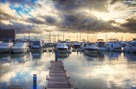 yacht club: evening yacht harbor , marine of Algarve, Portugal