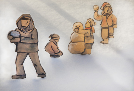 social actions: Conceptual illustration.  Cut out cardboard silhouette of people on snow