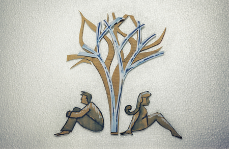 arbol geneal�gico: Ilustraci�n conceptual. Recorta la silueta de cart�n de personas o signos en diferentes antecedentes