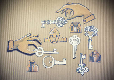 real state: Conceptual business illustration. Cut out cardboard silhouette of people or signs on different background