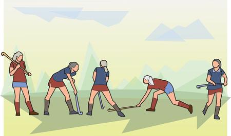 sport illustration, woman hockey on grass Vector