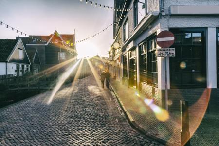 volendam: evening light, dutch old village in Amsterdam region, Volendam