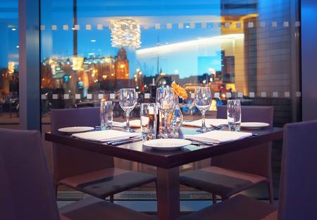 view at evening Amsterdam from restaurant 免版税图像