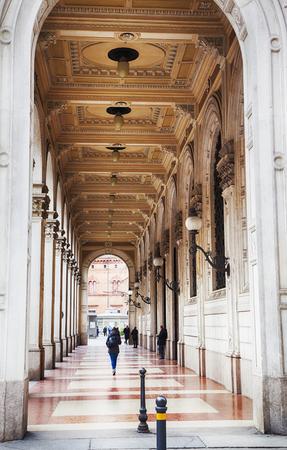 arcades: walking aria by arcades in Bologna, Italy Stock Photo