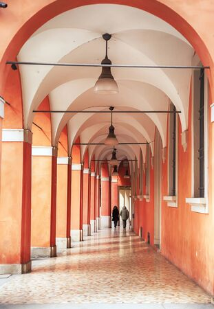 bologna: walking aria by arcades in Bologna, Italy Stock Photo