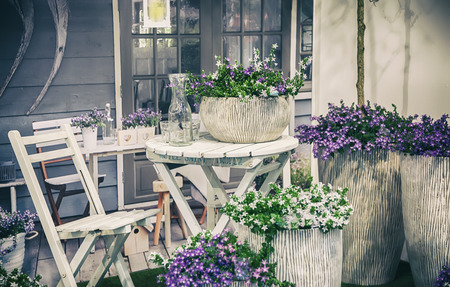 decorative garden with home furniture