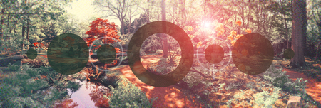 conceptual nature background, added image halftone and geometric form