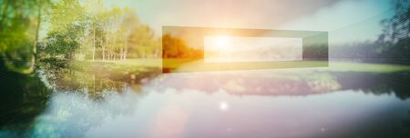 conceptual nature background. image toned and add geometric form, double exposition Stock Photo