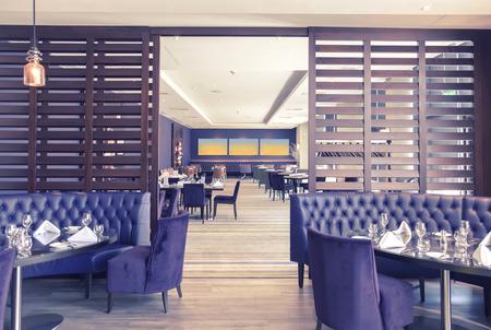 restaurant tables: detail of stylish interior of restaurant
