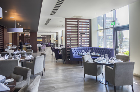 contemporary interior in hotel restaurant
