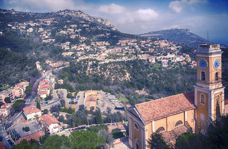 the church of our lady: panorama with view at Church Our Lady of Assumption was built 1764 - 1778 by an Italian architect Spinelli. Eze, small village near Nice