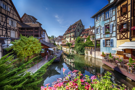 little venice: summer panorama in Colmar, named  Little Venice. Alsace region in France