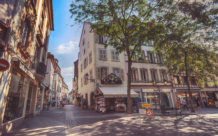little town: Editorial : morning in Colmar, old medieval town in Alsace region in France, 06-08-2015