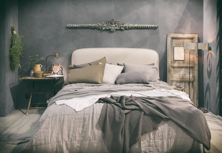 comfortable cozy: detail of home bedroom in country style Stock Photo