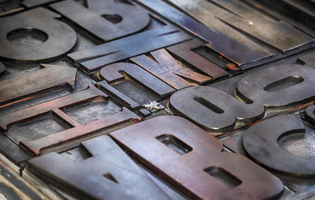 background of metallic letterpress Stock Photo