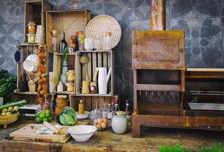 retro kitchen: seasonal kitchen object with autumn plant