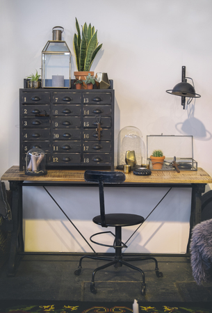 room decor: detail of retro interior with work table
