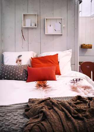 wall design: detail of cozy home bedroom Stock Photo