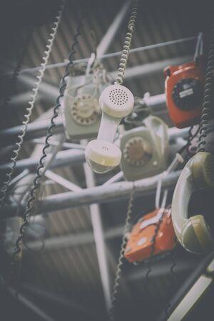 telephones: background of telephones, image toned