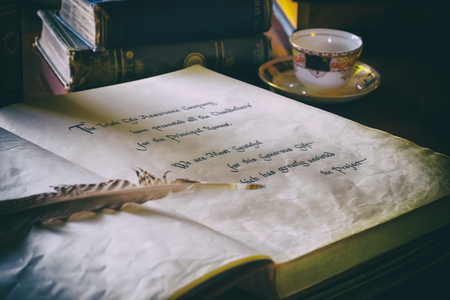 vintage document: still life with antique books , image toned