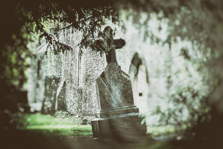 irish history: mystery Irish cemetery , image toned Stock Photo