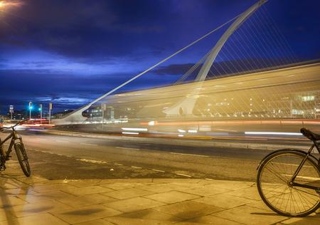 samuel: evening view at Samuel Beckett Bridge, Dublin. long exposure