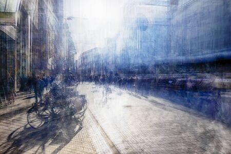 blurred people: multiple exposure of shopping street, the Hague