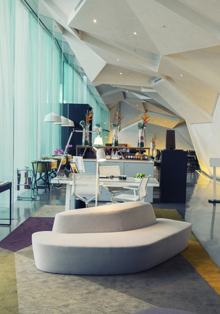 empty office: interior of elegant contemporary  hotel in Dublin, Ireland